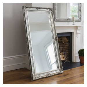 Louis Leaner Carved Silver French Mirror