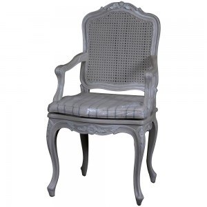 Louis French Antique White Rattan Chair / Finished in Chalk frame & Makeda fabric