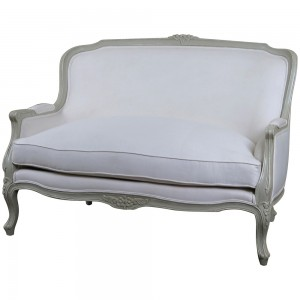 Vintage Linen Sofa with Antique Aged Frame