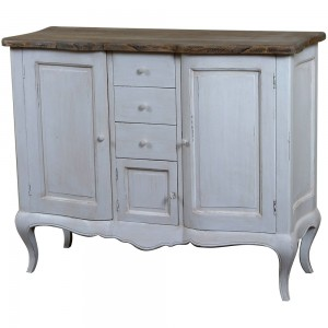Antique White Provencale French Carved 2 Door Base / Sideboard