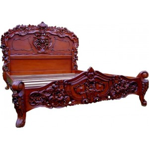 Carved Louis XV Bed - Mid Mahogany
