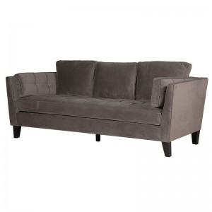 Linen Curved Back Sofa with Castors