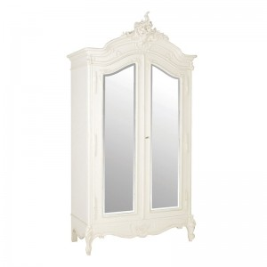 Antique White Provencale French Mirrored Armoire