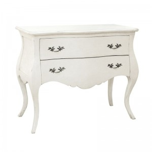 Antique White Provencale 2 Drawer French Carved Chest