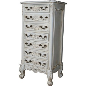 Mid-Mahogany French Rococo 7 Drawer Chest