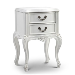 French Antique White Chateau Bedside Table with Rattan Shelf