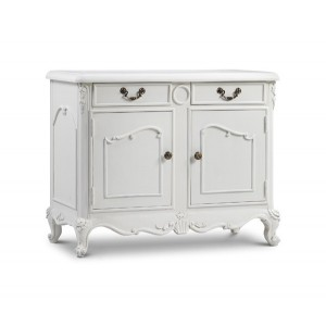 Chateau Antique White Painted French Carved 2 Door Base