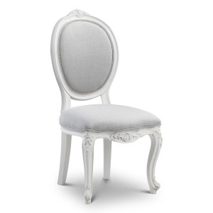 Helene Grey Lime Washed Oval Back French Dining Chair