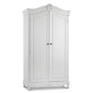 Chateau Antique White Painted French Carved Armoire