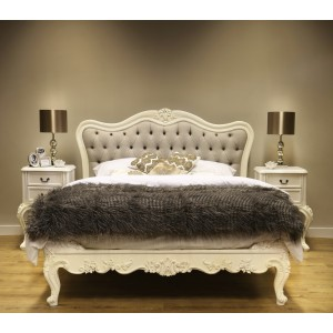 Beaulieu Antique White Upholstered French Bed