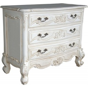 Rococo French White Single Drawer Bedside