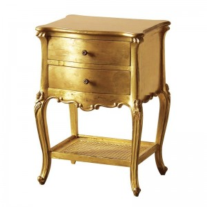 Gold Ginkgo Leaf Demi-lune Console Table