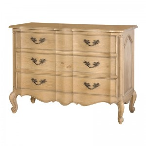 Camille Weathered Oak French Style 3 Drawer Bedroom Chest