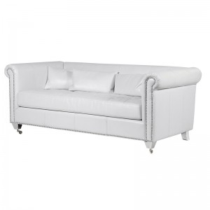 Silver Studded L Shape Sofa