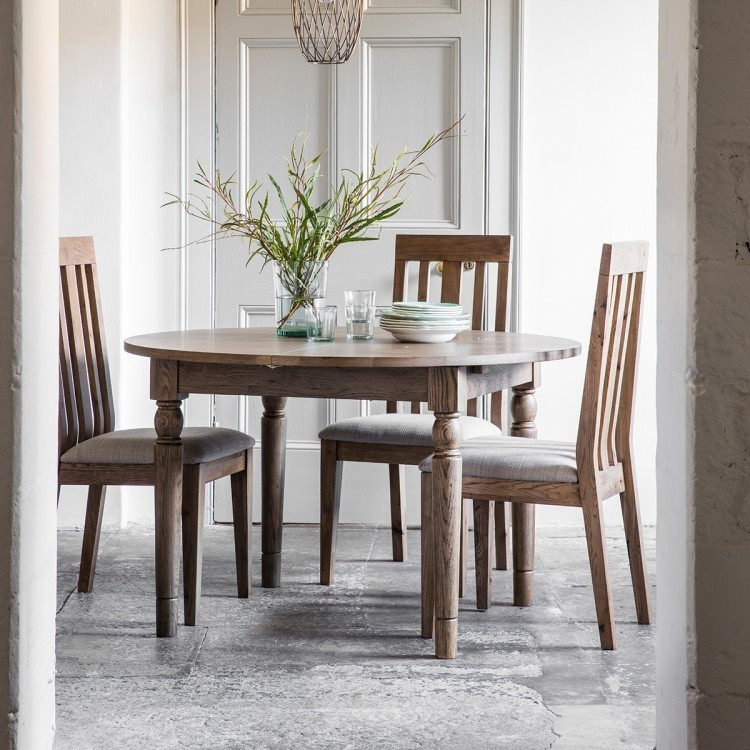 Cookham Round Extending Dining Table Oak, Round Extendable Dining Table And Chairs Uk