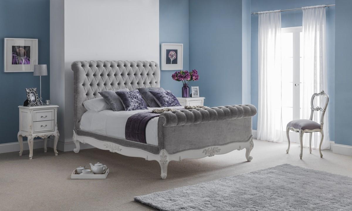 Beaulieu velvet chesterfield upholstered bed Bedroom furniture chesterfield