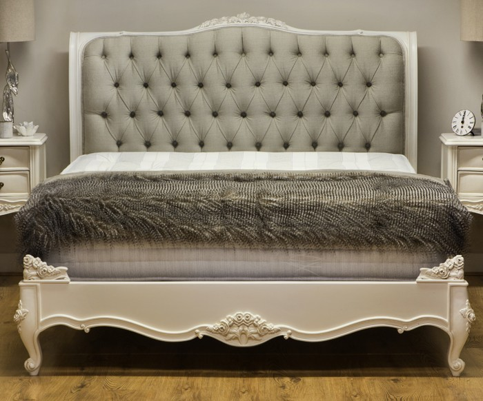Beaulieu Upholstered French Bed Crown French Furniture