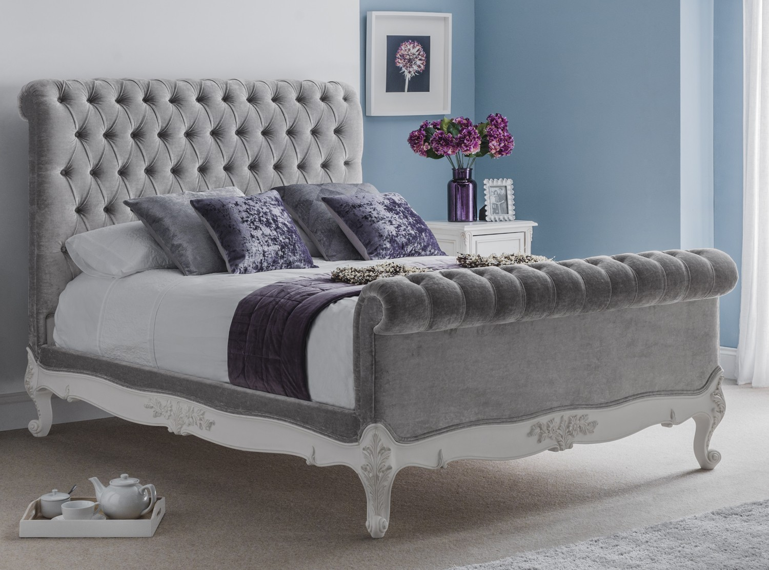 Picture of: Beaulieu Velvet Chesterfield Upholstered Bed