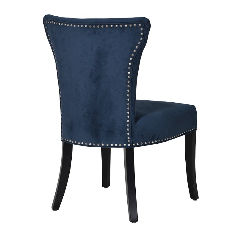Blue Upholstered Dining Chair With Silver Studs Crown