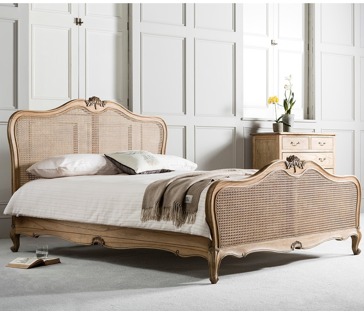 Charlotte French Inspired Oak Rattan Bed Solid Oak Contemporary Beds French Beds French Bedroom Furniture