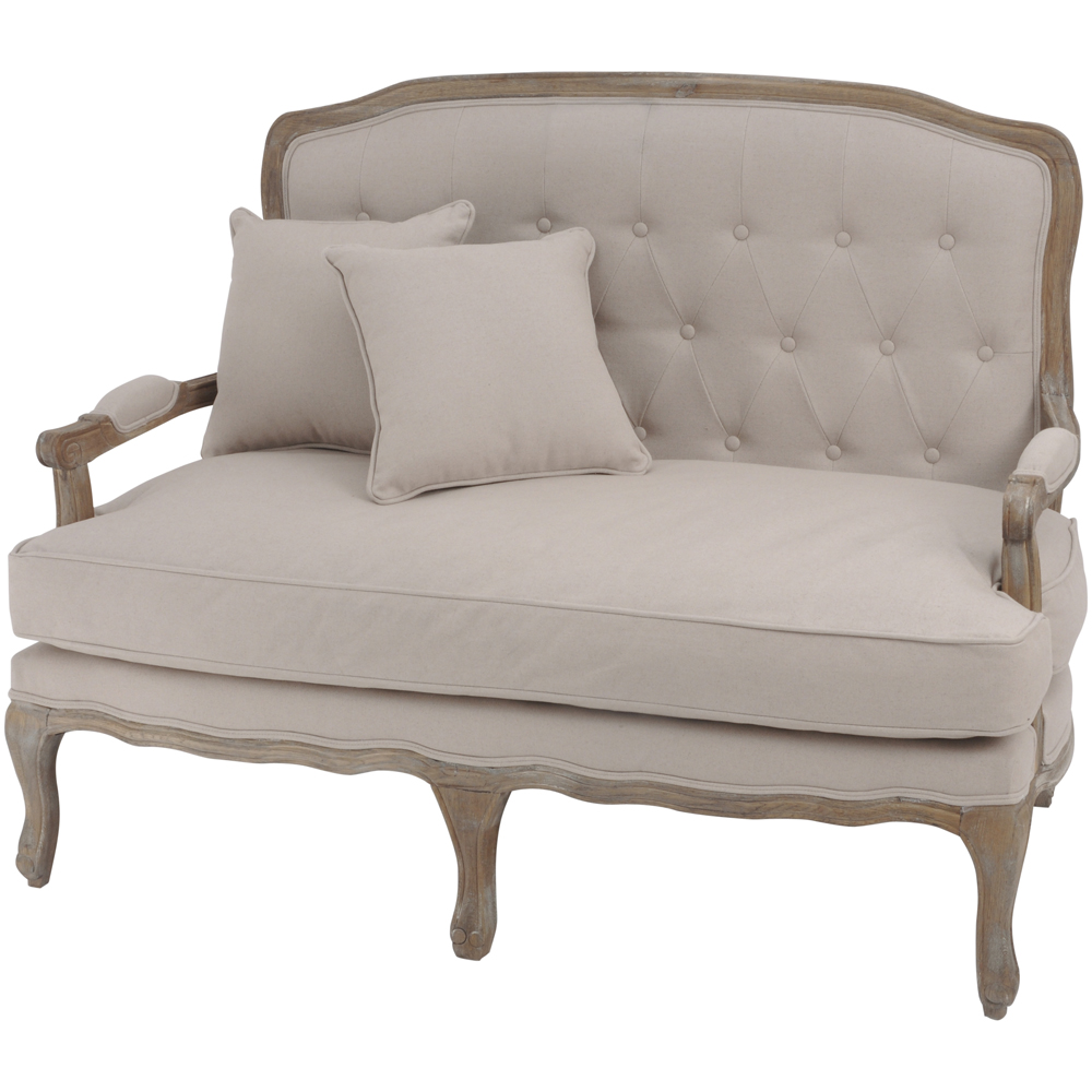 cream linen buttoned back french sofa french living room furniture. Black Bedroom Furniture Sets. Home Design Ideas