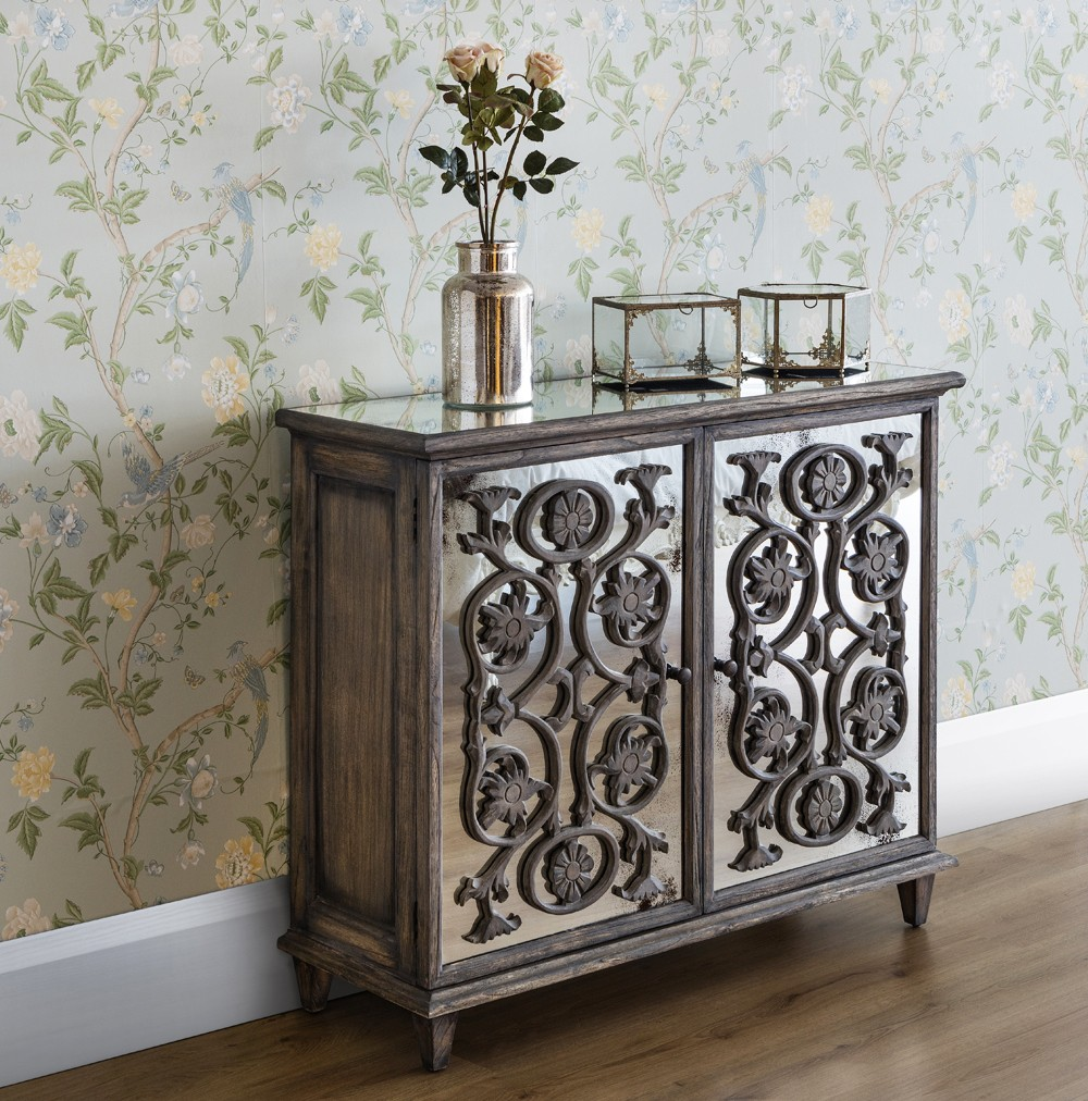 Antique glass flower carvings sideboard crown french furniture - Dorset 2 Door Flower Carving Sideboard