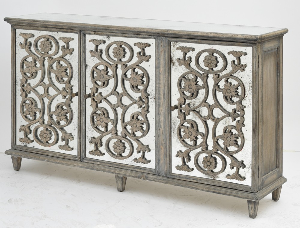 Dorset French Style Sideboard - Dorset Antique Glass Flower Carvings Sideboard - Crown French