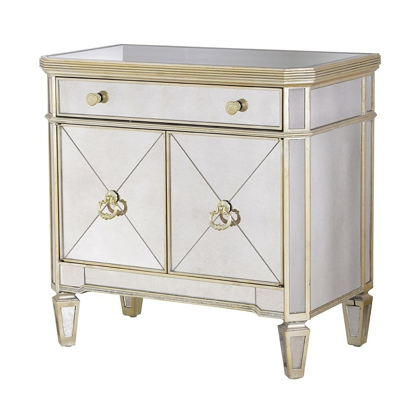 French Aged Small Cupboard Mirrored, Small Venetian Mirrored Sideboard