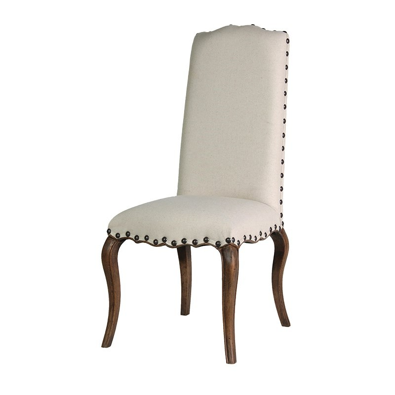 French Cream Upholstered Oak Dining Chair