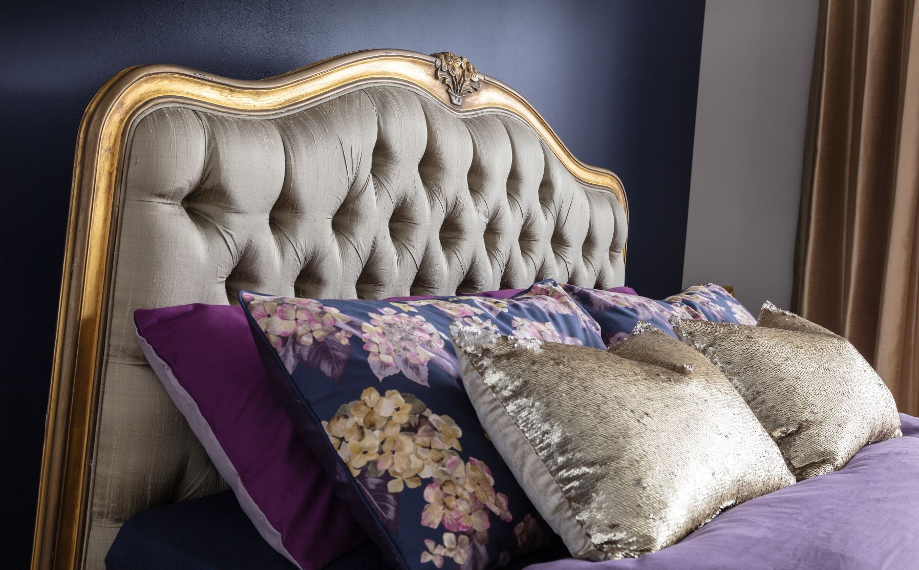 gilt versailles french curved bed | gold leaf french beds | french bedroom furniture | french beds