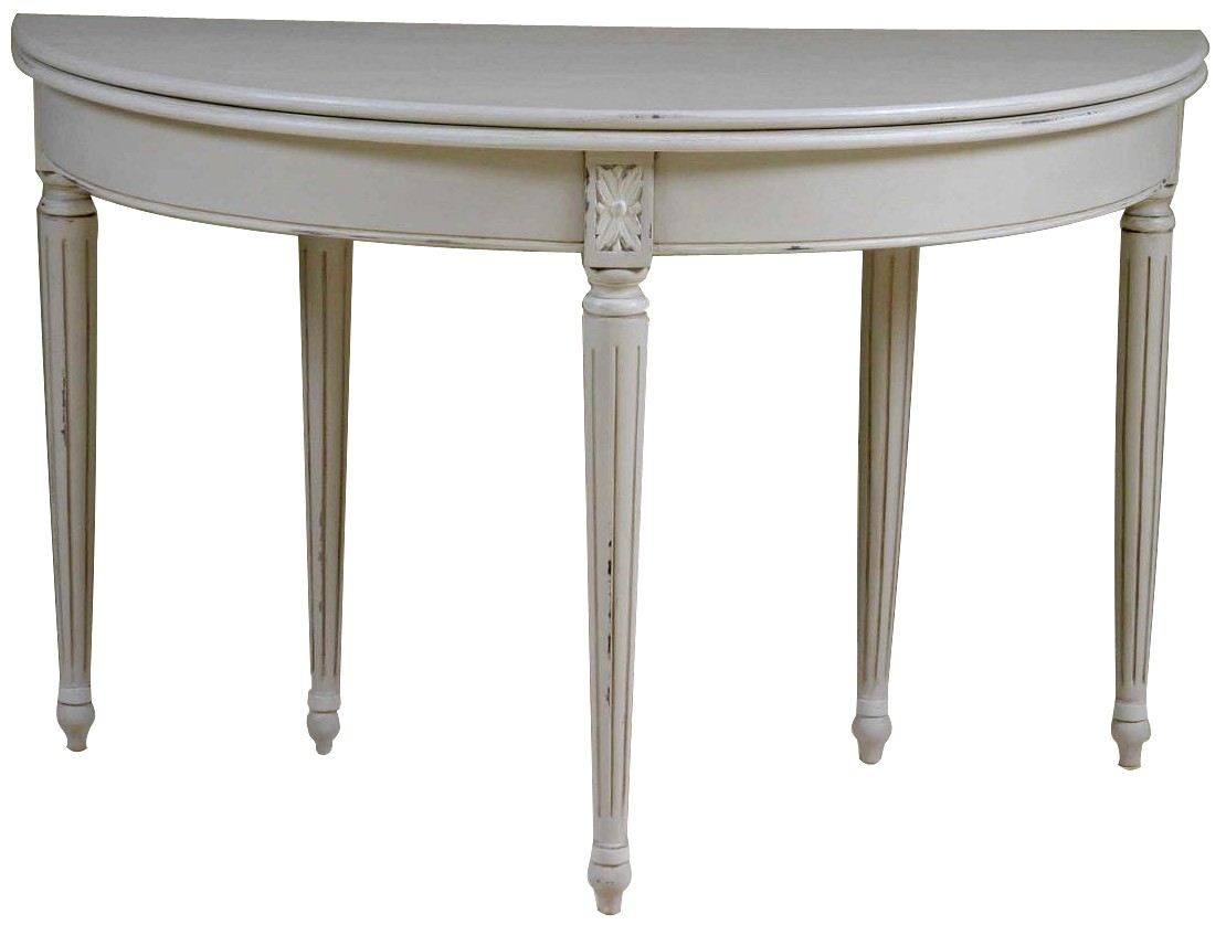 - Louis French Light Grey Folding Round Dining Table White Painted