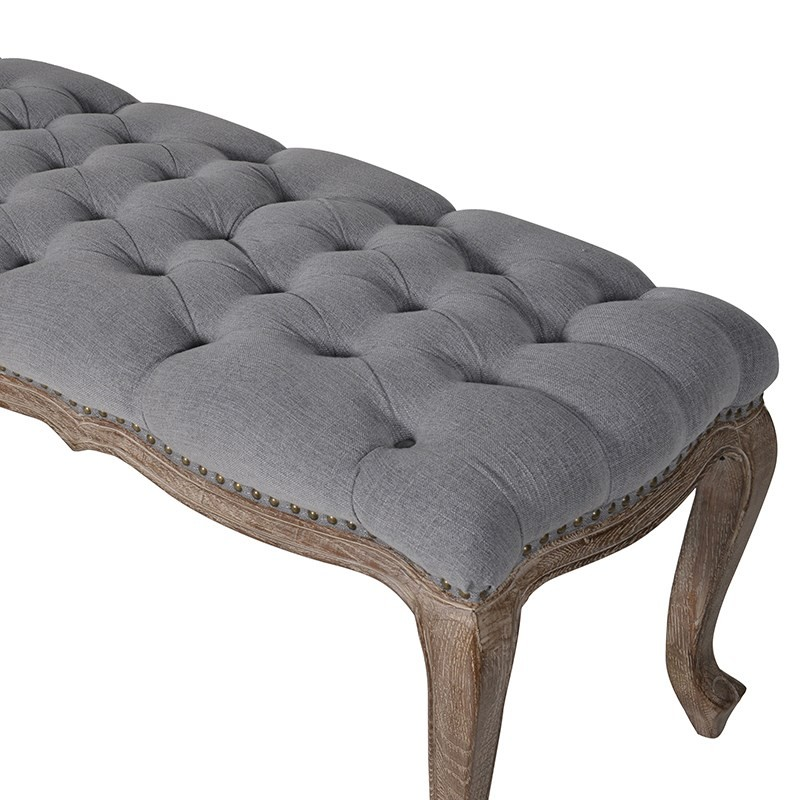 Grey fabric button bench grey upholstered bench bed for End of bed chair