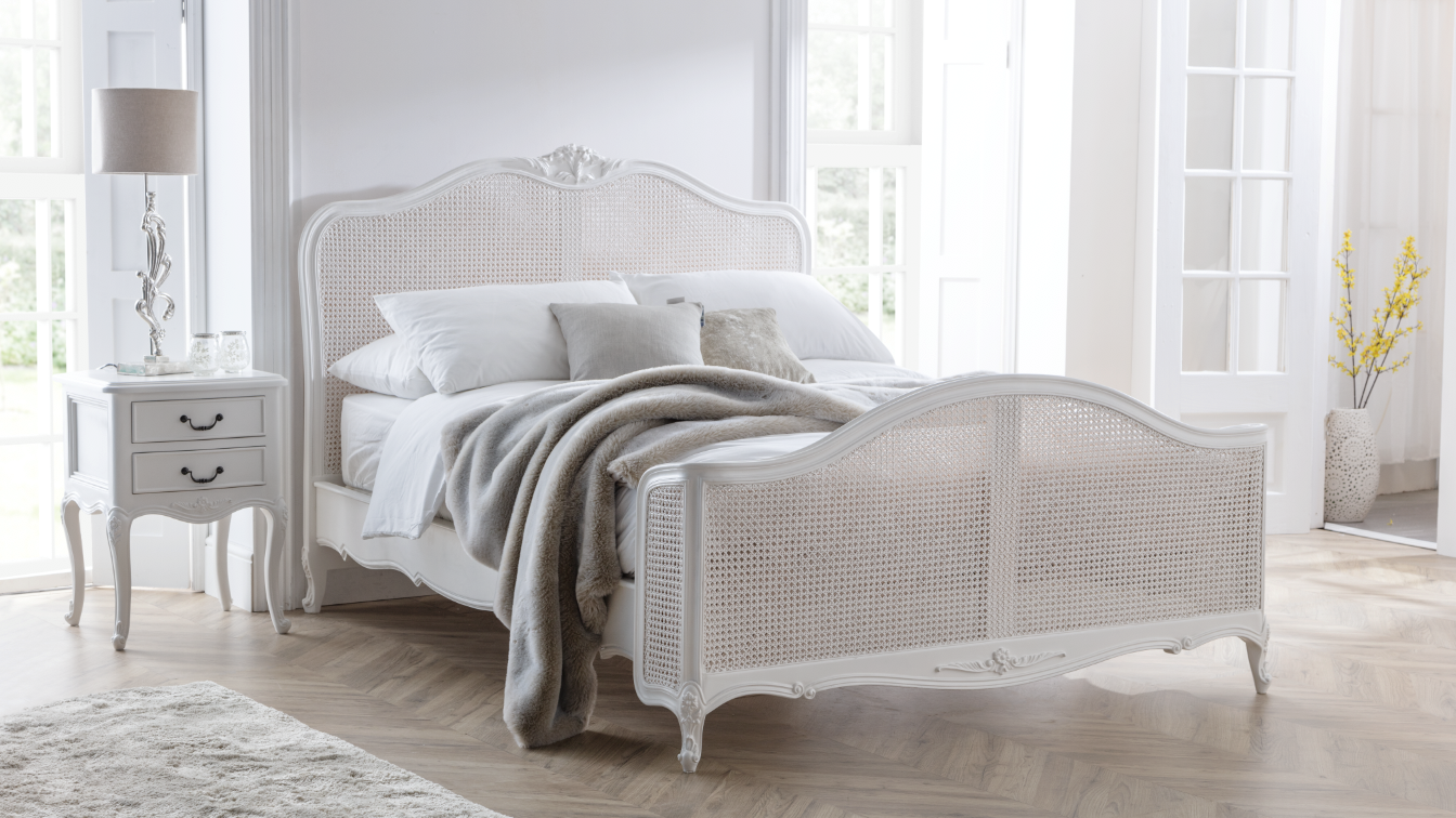 Ivory French Inspired Rattan Bed French Beds French Bedroom Furniture French Furniture