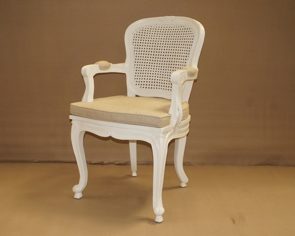 Louis French Oval Cane Back Armchair Cane Back White
