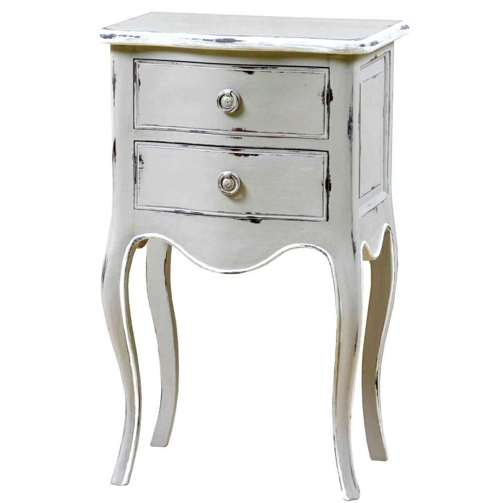 Louis French 2 Drawer Bedside Cabinet Grey Painted