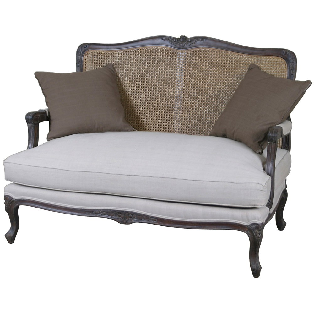 Louis french 2 seater sofa with rattan back french style for Divan and settee