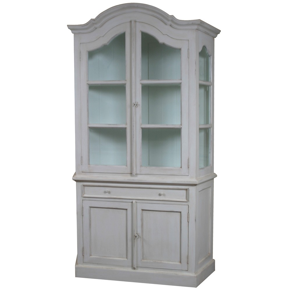 Louis French Glazed Display Cabinet With Cupboard French