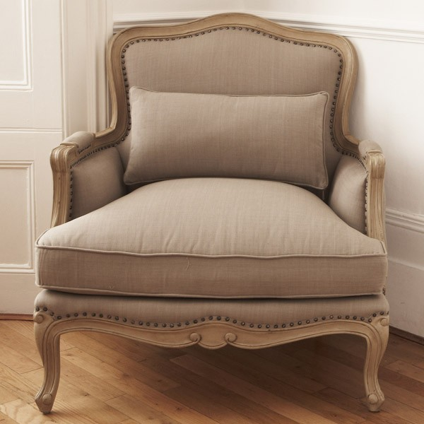 Lyon French Armchair   Finished With Oak Ceruse Frame