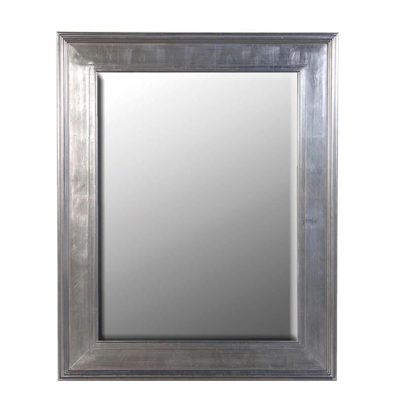 Medium silver rectangular mirror framed mirror silver for Silver framed mirror