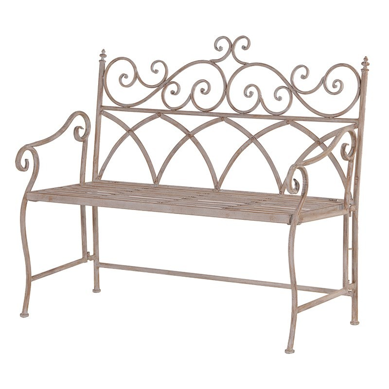 Metal Folding Garden Bench Crown French Furniture