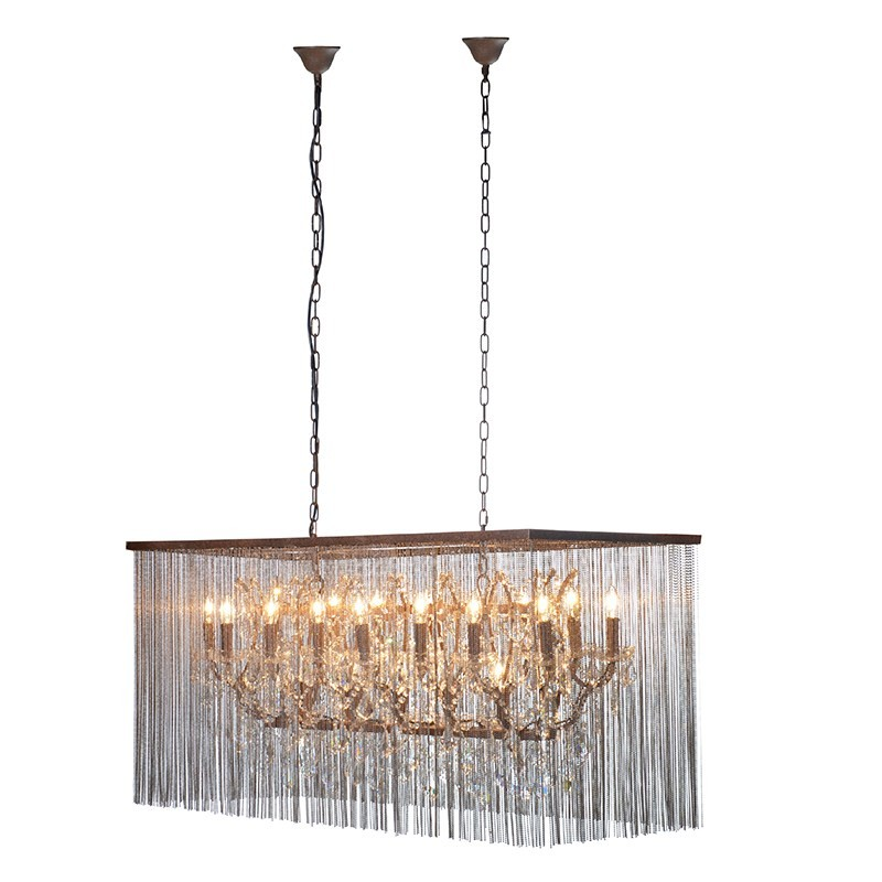 Rectangular bead glass chandelier traditional large glass chandelier - Chandelier glass beads ...