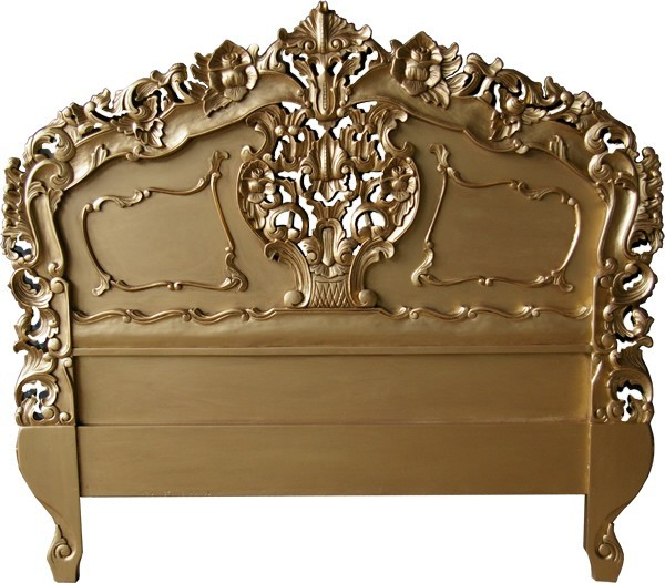 Rococo Antique Gold Headboard Crown French Furniture