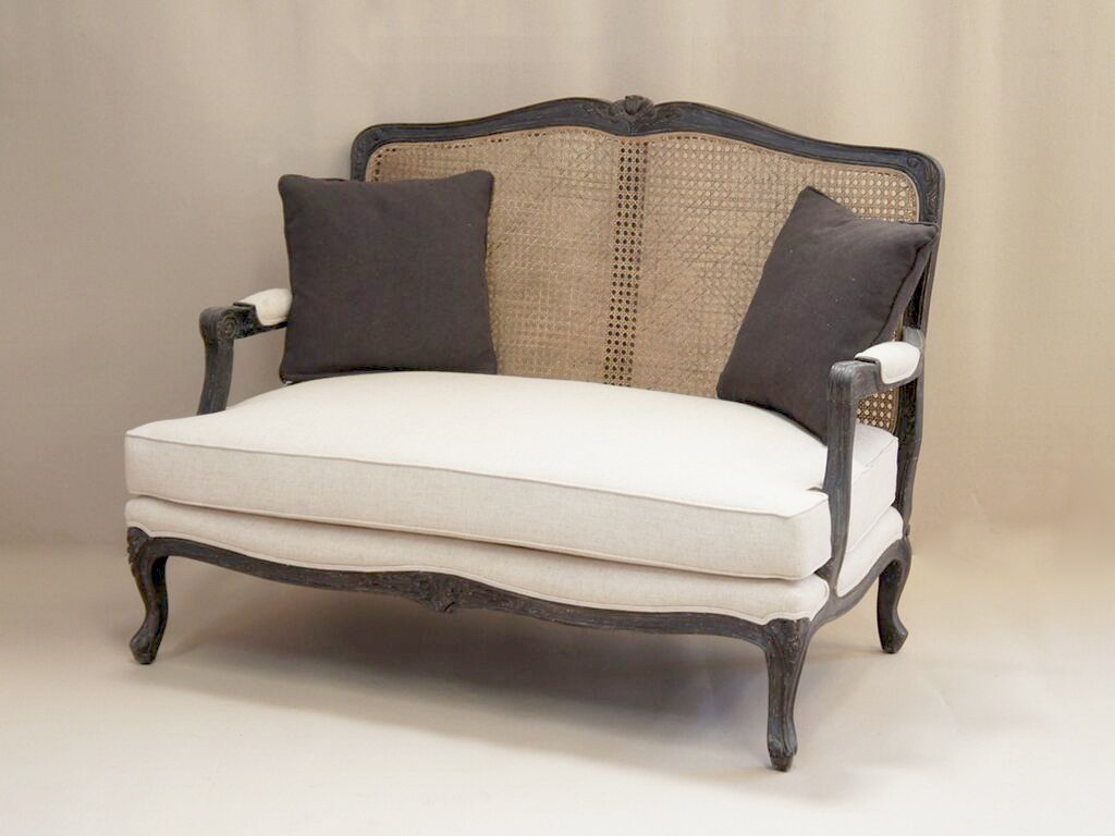 Louis French 2 Seater Sofa With Rattan Back French Style