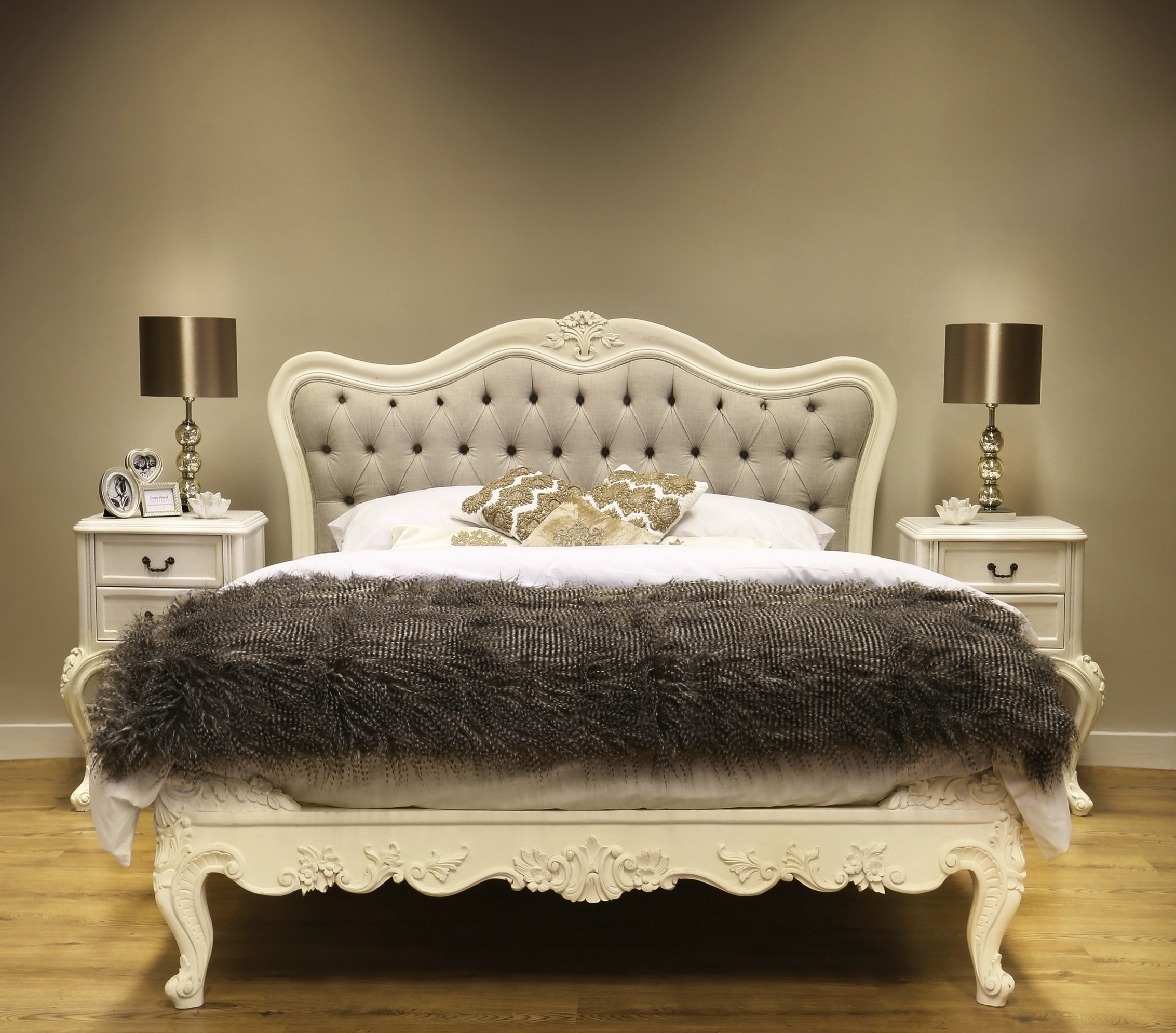 Sophia button upholstered french bed french bedroom for French style bedroom furniture
