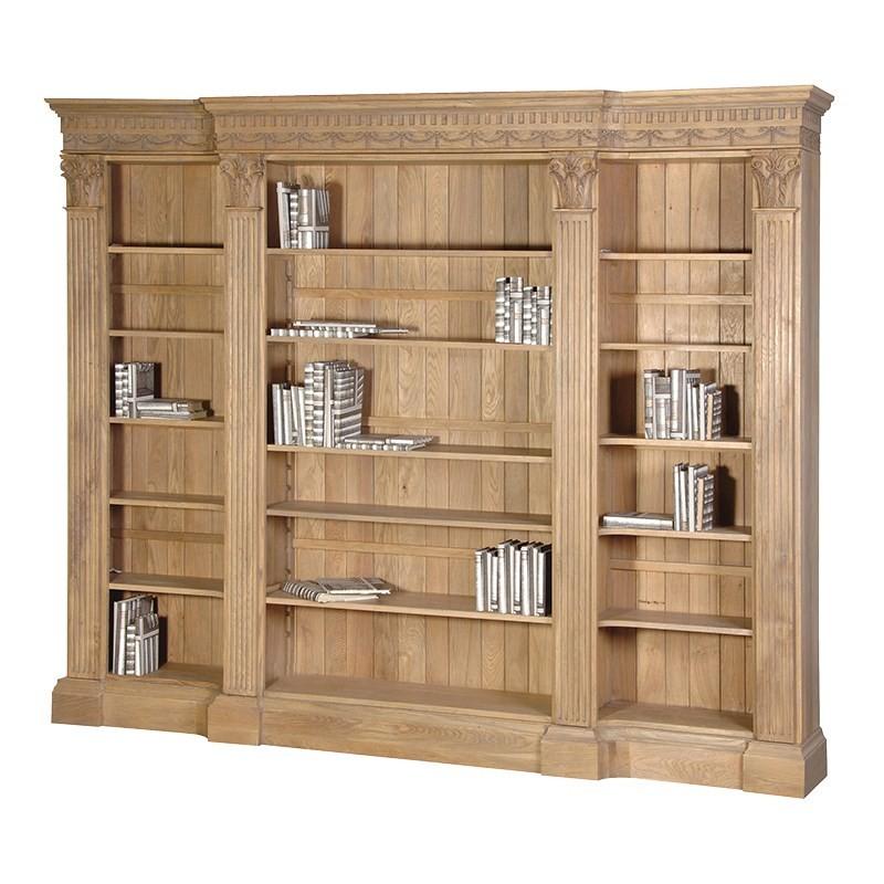 Delightful Villeneuve Oak Breakfront Bookcase