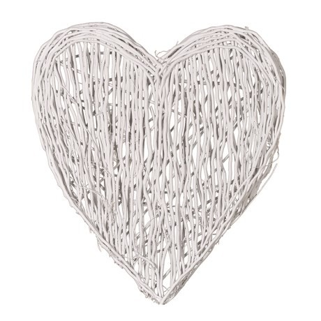 White Wood Hanging Heart Shabby Chic Home Accessories