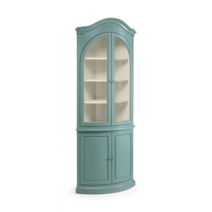 Alsace French Heavy Distressed Turquoise Glazed Corner Cupboard
