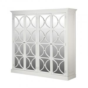 Ashwell Classic White French Mirrored 4 Door Wardrobe