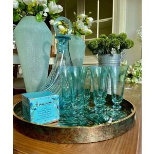 Blue Glass Deco Bottle