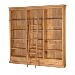 Tuscany Oak Bookcase with Ladder